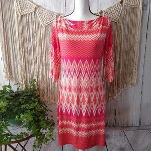 Donna Morgan Pink Geometric Midi Dress 8